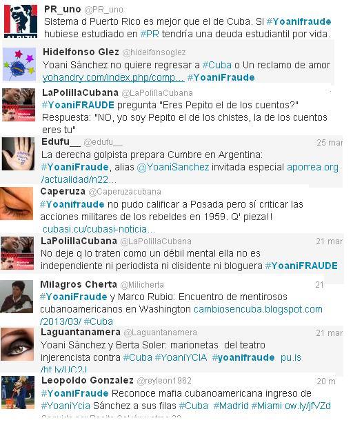 Collage de los mejores twitts sobre YoaniFraude.