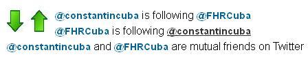 Fig. 3 Los usuarios @constantincuba y @FHRCuba son mutuos seguidores en Twitter.